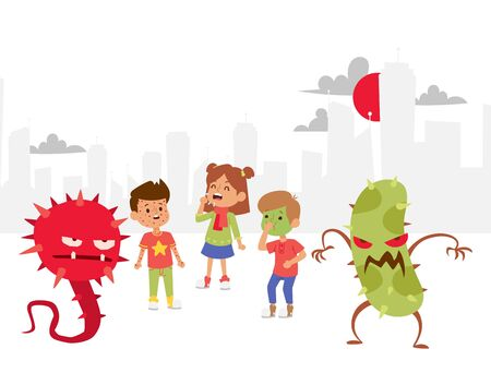 Microbes set banner vector illustration. Collection of cartoon viruses. Bad microorganisms for children. Different disgusting bacteria. Monsters collection. Kids with various deseases and illnesses.