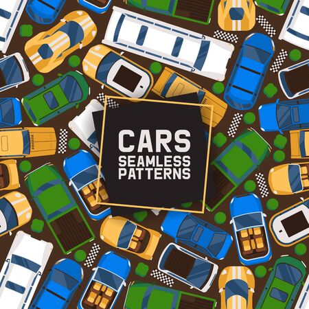 Cars seamless pattern vector illustration. Car, transport, transportation, transfer. Public service. Luxury, sport, cabriolet, limousine vehicle stretch car Limo saloon car Riding competition