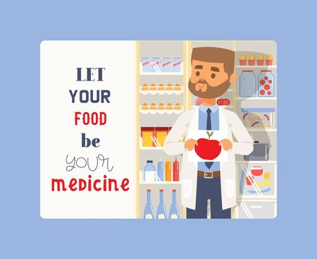 Let your food be your medicine banner. Man holding picture of apple aon medicine or pills background. Medical professional pharmacist in uniform. Eating vitamins such as fruit and vegetables. Imagens - 125319672