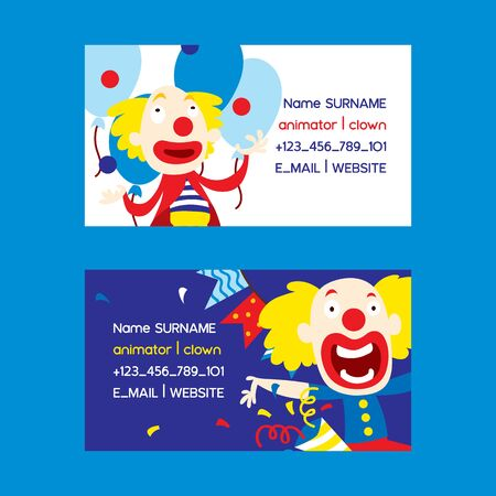 Animators and clowns set of business cards vector illustration. Funny characters and different circus accessories for party. Cartoon clown, comedian and jester performance in costume.