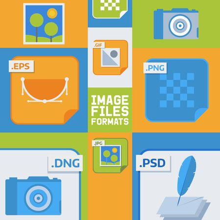Image files formats banner vector illustration. Document formats such as eps, gif, png, dng, jpg, psd. Camera icon, picture with nature, papers with writing fountain pen. Illustration