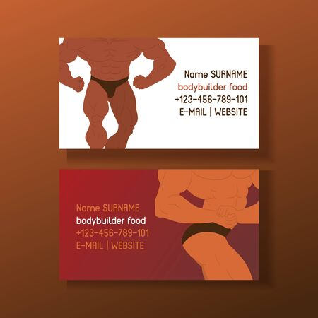 Mens phisycs set of business cards vector illustration. Muscle bodybuilder men flexing his muscles. Fitness models, posing, bodybuilding. Sportsmen in gym. Strong people. Contact information. Illustration