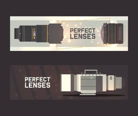 Professional zoom photo lenses and supplies for camera banner vector illustration. Photographer accessories and equipment. Taking photos or making videos. Perfect lenses.