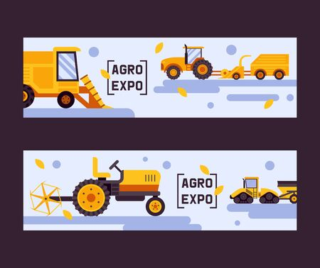 Agro exposition set of banners vector illustration. Harvesting machine. Equipment for agriculture. Industrial farm vehicles, tractors transport, combines and machinery excavator. Buying machinery.