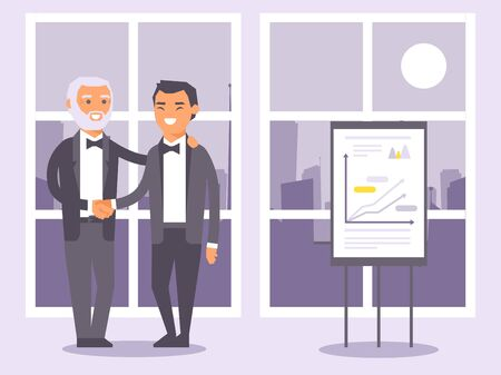 Flat people businessmen in formal black suits shaking hands banner vector illustration. Two man standing on window background with city view. Presentation with charts and graphs. Illustration