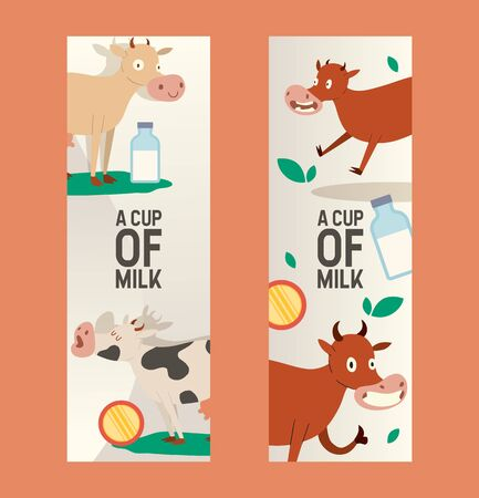 Cup of milk set of banners vector illustration. Curious cow eating grass with vacant look. Funny baby animal, cattle saying moo. Organic and natural diary products. Bottle of milk. Farming.
