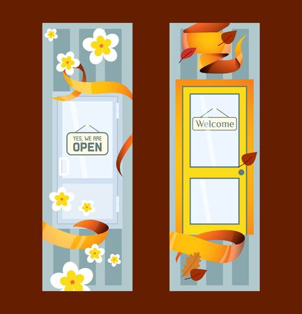 Front doors to houses and buildings set of banners in flat design vector illustration. Interior wooden, glass door of various forms. Entrance to shop. Yes, we are open, welcome signs. Ilustração