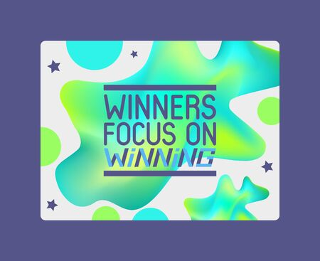 Winners focus on winning on abstract background banner vector illustration. Congratulations in championship. Victory header with shapes. Success design. Getting first place. Colorful spot. Illustration