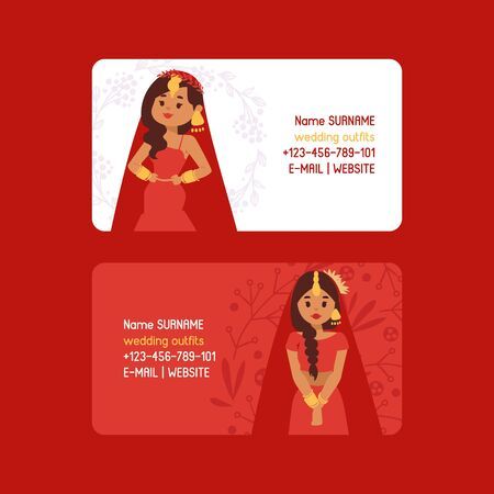 Wedding outfits set of business cards vector illustration. Beautiful indian woman wearing bridal clothing. Traditional celebration, love ceremony, hinduism costume. Red sari. Bollywood star fashion. 向量圖像