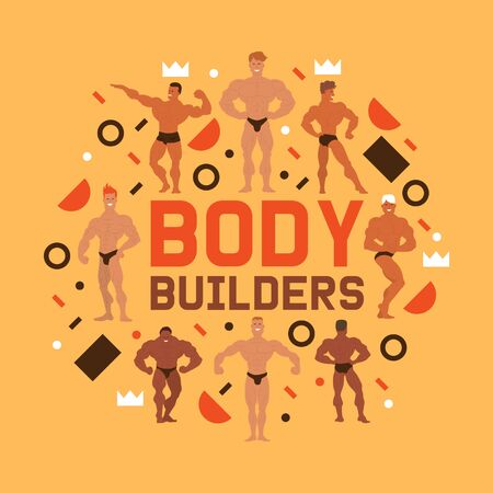 Men physics banner vector illustration. Muscle bodybuilder men flexing his muscles. Fitness models, posing, bodybuilding. Sportsmen in gym. Strong handsome people. Male showing his biceps.
