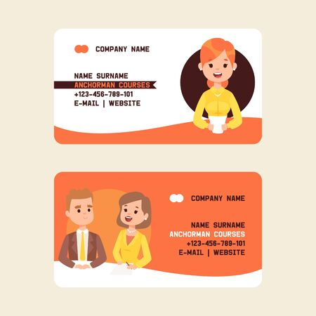 Anchorman securities stock courses business cards vector illustration. Breaking news on Television. TV presenters man and woman. News announcers with paper script on news desk in studio. Contact information. Email.
