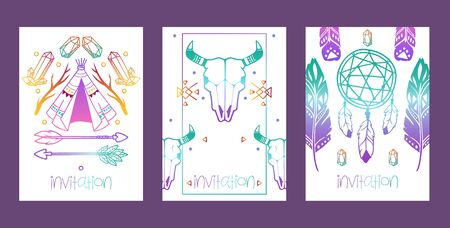 Boho set of cards, banners vector illustration. Dream catcher amulet, scull, plants such as flowers with leaves, branch arrows, moon, feather, ethnic bohemian tribal eyes. Invitation.