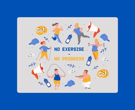 No exersise no progress banner vector illustration. People with overweight doing exercises. Obese man and woman doing exercises with jumping rope, dumbbells. Overweight training.