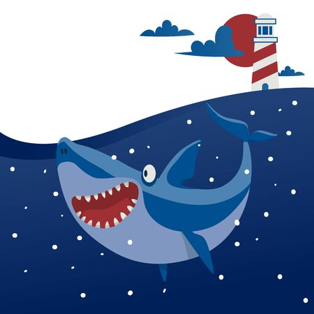 Big shark banner vector illustration. Cartoon beautiful ocean with waves and fish. Underwater nature and marine wildlife. Lighthouse on sunset background. Open mouth with teeth. Diving.