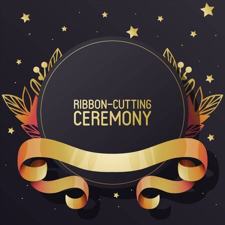 Illustration vectorielle de bannière de publicité de cérémonie de coupe de ruban. Rubans bouclés texturés dorés sur fond noir. Brochure de style élégant, dépliant. Nouveau lieu. Grande ouverture de la boutique.