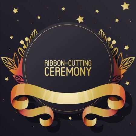 Ribbon-Cutting Zeremonie Werbung Banner Vektor-Illustration. Goldene strukturierte geschweifte Bänder auf schwarzem Hintergrund. Elegante Broschüre, Flyer. Neuer Ort. Große Ladenöffnung.