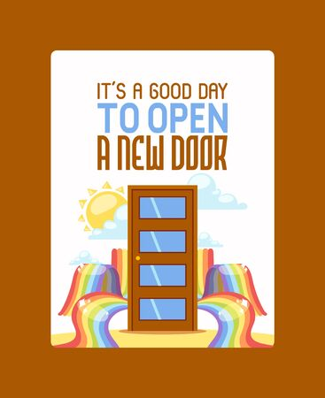 It s good day to open new door poster vector illustration. Door among rainbow, sun and clouds. New opportunity, follow desires, make wishes. Door in sky motivational card. Wooden door with glass. Stock Illustratie