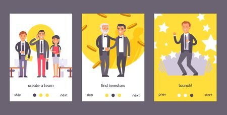 Flat people businessman set of posters vector illustration. Two man in formal black suits shaking hands. Create team. Find investors, launch. Workers in office with computers. Successful person.