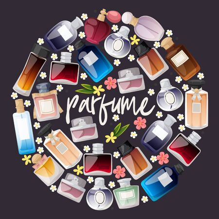 Parfume bottles shop on dark background banner vector illustration. Flat design collection. Different shapes and colors of bottles for man and woman. Advertisement for shop or store. Flowers.
