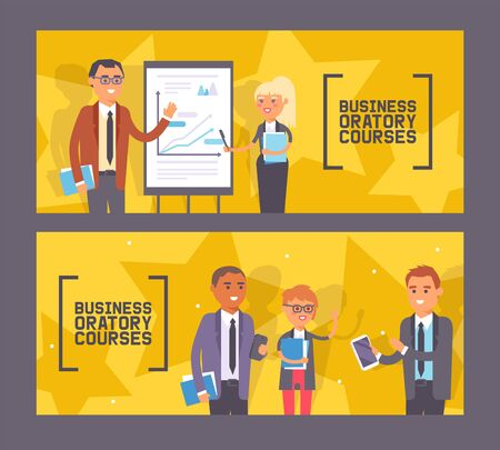 Business oratory courses set of banners vector illustration. Woman and man standing near presentation with chart with pointer, people with notebooks. Person holding tablet gadget. Illustration