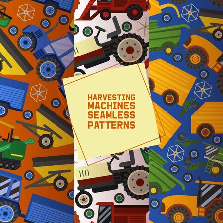 Harvesting machines set of seamless patterns vector illustration. Equipment for agriculture. Industrial farm vehicles, tractors transport, combines and machinery excavator. Transportation technology.