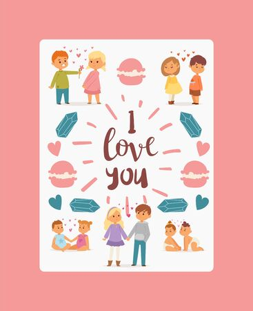 I love you poster, banner vector illustration. Couples of children of different age in love with hearts between them. Small boy presenting flower to girl. Babies holding each oyhers hand. Macaroons.