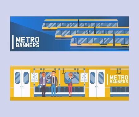 People passangers in subway car, modern city public transport, underground tram set of banners flat vector illustration. Humans in metro, tube. Cartoon men and women traveling. Illustration