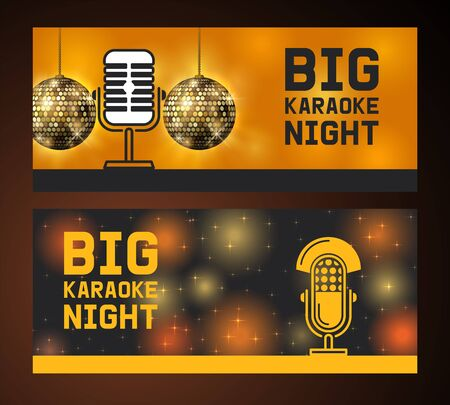 Big karaoke night. Microphone set of banners vector illustration. Live music concert. Party brochures. Recording songs by singers. Public performance. Singing in clubs. Voice sound. Disco ball. Banque d'images - 125454647