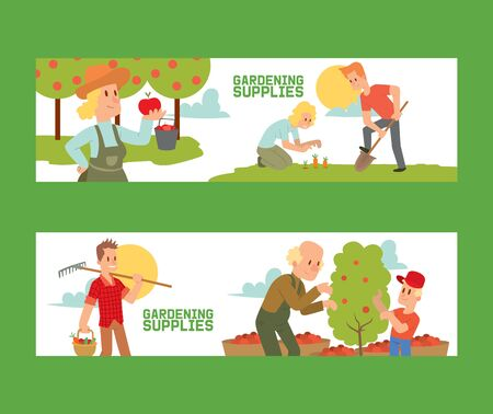 Gardening supplies set of banners vector illustration. Equipment for land such as rake, shovel, bucket. Farmer picking apple harvest. Female and male characters harvesting.