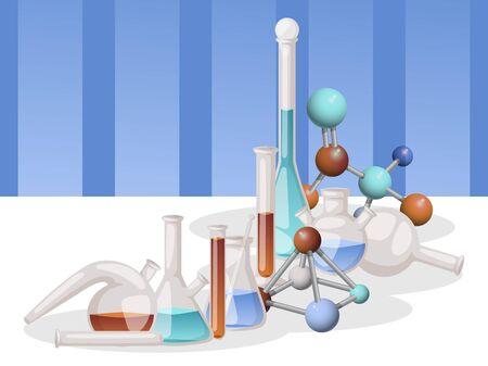 Illustration vectorielle de laboratoire flacons bannière. Verrerie et liquide de laboratoire différents pour analyse, tubes à essai avec liquide de différentes couleurs, molécule. Expériences chimiques et biologiques.