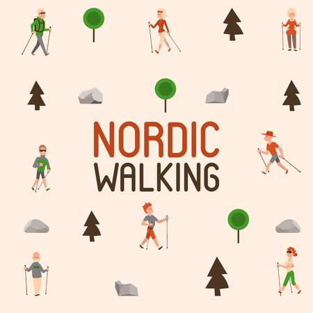 Nordic walking sport people leisure sport time vector illustration. Active nordwalk man and woman summer exercise. Outdoor fitness healthy active characters. Trekking friends walker person. Stock Illustratie