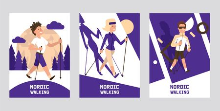 Nordic walking supplies people leisure sport time cards vector illustration. Active nordwalk man and woman summer exercise. Outdoor fitness active characters. Trekking friends walker jogging person. Stock Illustratie