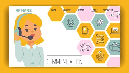 Woman communication concept landing page icons vector illustration. Girl operator communicate global mobile connection. Online talk person networking chat telephone office technology. Imagens - 125916615