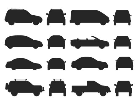 Car auto vehicle transport silhouette type design travel race model technology style and generic automobile contemporary kid toy flat vector illustration. Illustration