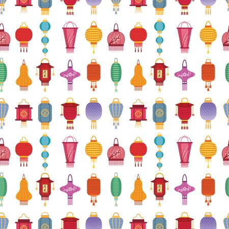 Chinese lantern light paper holiday celebrate graphic lamp celebration traditional festival symbols. Luck traditionfestival ornament paper seamless pattern background. Illustration