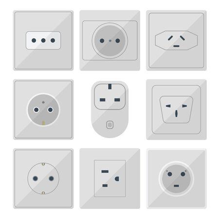 Bouchons électriques pile illustration de prise de courant prises électriques prises européennes et américaines et l'icône de l'intérieur de l'appareil en Asie. Câble électrique Cordon de raccordement fiches électriques prises double américain. Vecteurs