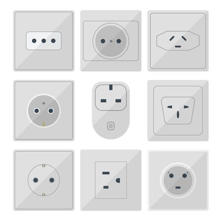 Electric plugs stack outlet illustration energy socket electrical outlets plugs european and usa and asia appliance interior icon. Wire cable cord plug-connection electrical outlets plugs double ameri