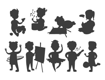 Children playing vector silhouette different types of home games little kids play summer outdoor active leisure childhood activity.