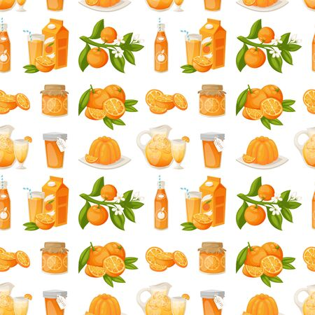 Oranges and orange products vector illustration. Fresh natural citrus fruit vector seamless pattern background. Juicy tropical dessert beauty breakfast Organic juice healthy oranges food. Illustration