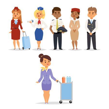 Pilotos y azafatas vector ilustración aerolínea carácter personal de avión personal azafatas azafatas personas comandan Auxiliares de vuelo capitán de pilotos profesionales y azafata.