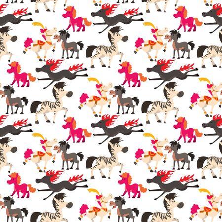 Horse pony stallion vector breeds color farm equestrian mammal domestic animal mane zoo character illustration. Cartoon pet design horseback mare many horse pony style seamless pattern background.