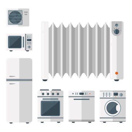 Haushaltsgeräte Vektor Haushalts Haushaltsgeräte Küche elektrische Haushaltstechnik für Hausaufgaben Werkzeuge Illustration. Reinigung Wäsche Haushaltsgeräte Haushaltsgeräte.