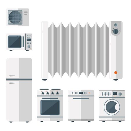 Home appliances vector domestic household equipment kitchen electrical domestic technology for homework tools illustration. Cleaning laundry home appliances household equipment. Stockfoto - 128168627