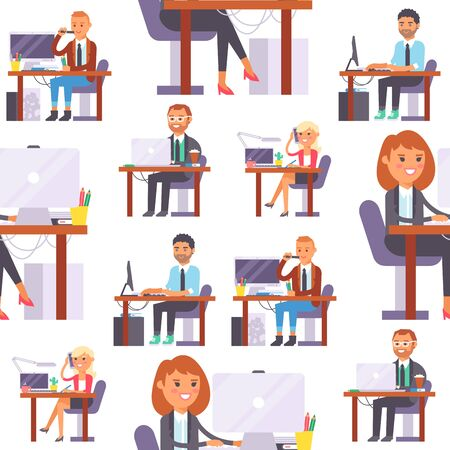 Vector flat people work place business worker person working on laptop at the table in office coworker businesswoman and businessman character workplace on computer, illustration isolated on background.