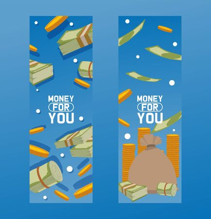 Money packing in bundles of bank notes, bills fly, gold coins banner. Flat vector money concept financial investment illustration. Business dollar cash currency finance motivation background.