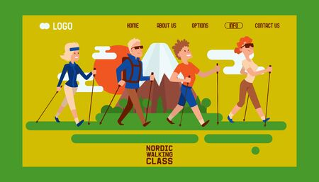 Nordic walking people landing page leisure sport time vector illustration. Active nordwalk man and woman exercise. Outdoor fitness healthy active characters. Trekking sport friends walker jogging person. Stock Illustratie