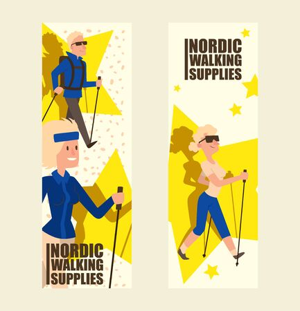 Nordic walking people landing page leisure sport time vector illustration. Active nordwalk sport man and woman exercise. Outdoor fitness characters. Trekking friends walker jogging person. Stock Illustratie