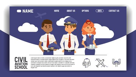 Flight civil aviation training academy landing page. Education aircraft commercial banner vector illustration. Stewardess steward, pilot private transportation business. Sky training airport school.