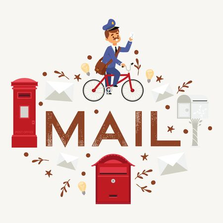 Mail box envelope postman delivery vector post mailbox postal mailing letterbox illustration. Postboxes man delivery mailed letters sending in envelopes. Classic correspondence presentation.