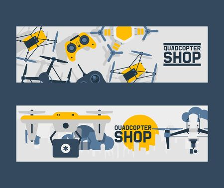 Air drones shop banner, quadrocopters and remote control drones wireless flight aerial robot vector illustration. Fly innovation camera gadget. Professional rotor security quadcopter.